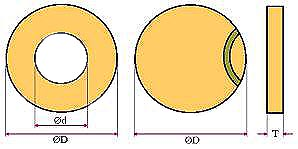 Dimensions of annular and circular piezoceramic disks SPZT 4